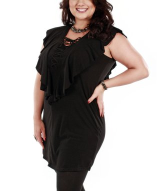Jasmine Black Lace-Up Front Tunic - Plus
