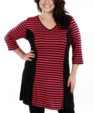 Jasmine Black & Pink Stripe V-Neck Tunic - Plus