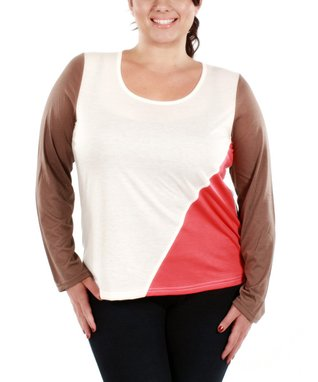 Jasmine Mocha & Cream Color Block Long-Sleeve Top - Plus