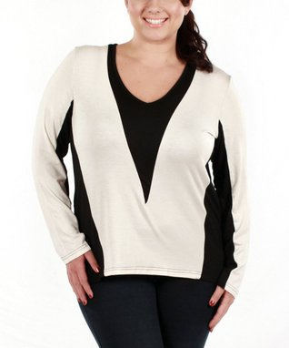 Jasmine Black & White Color Block Long-Sleeve Top - Plus
