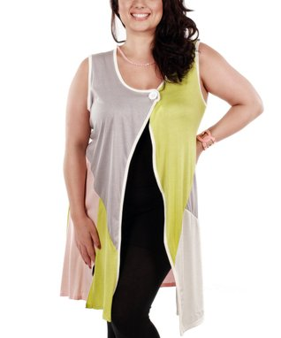 Jasmine Gray & Apple Green Sleeveless Open Cardigan - Plus