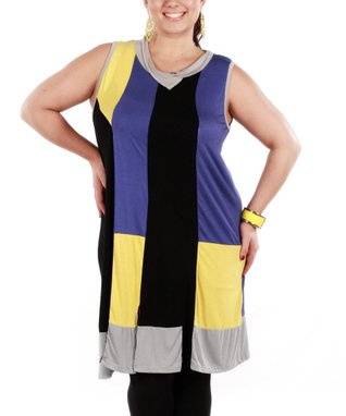 Jasmine Purple & Black Color Block Sleeveless Tunic - Plus