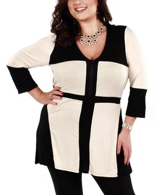 Jasmine Black & White Color Block V-Neck Tunic - Plus