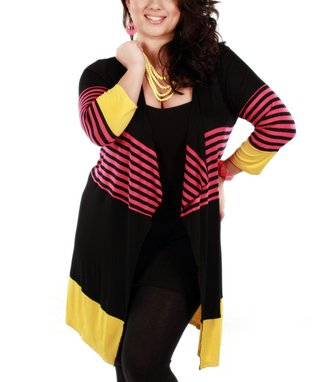 Jasmine Black & Pink Stripe Open Cardigan - Plus