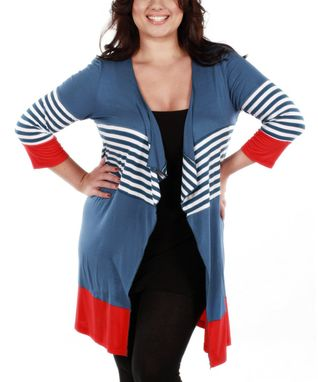 Jasmine Navy Blue & Red Stripe Open Cardigan - Plus