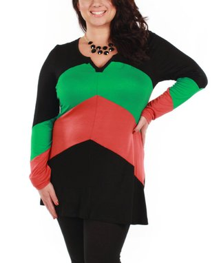 Jasmine Green & Coral Color Block V-Neck Top - Plus