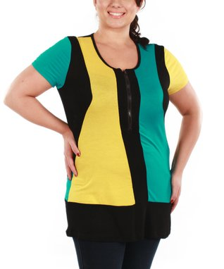 Jasmine Yellow & Teal Color Block Scoop Neck Tunic - Plus