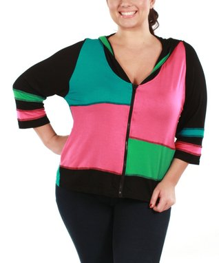 Jasmine Pink & Teal Color Block Zip-Up Hoodie - Plus