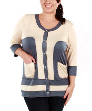 Jasmine Gray & Beige Color Block Cardigan - Plus