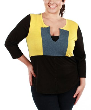 Jasmine Black & Yellow Color Block V-Neck Top - Plus