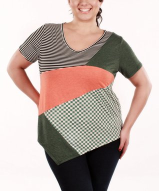 Jasmine Coral & Green Patchwork V-Neck Top - Plus