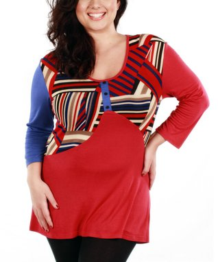 Jasmine Red & Blue Patchwork V-Neck Top - Plus
