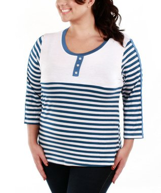 Jasmine Navy & White Stripe Three-Quarter Sleeve Top - Plus