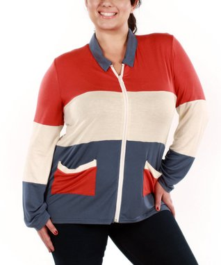 Jasmine Blue & Red Zip-Up Cardigan - Plus