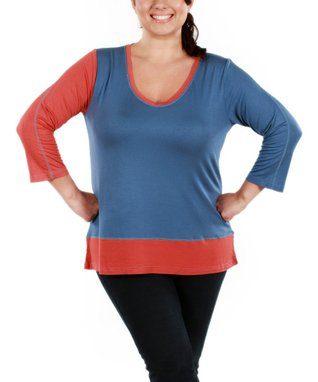 Jasmine Coral & Red Color Block V-Neck Top - Plus
