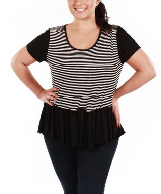 Jasmine Black & White Stripe Peplum Top - Plus