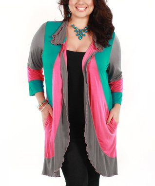 Jasmine Pink & Turquoise Color Block Open Cardigan - Plus