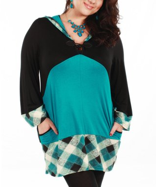 Jasmine Black & Teal Plaid Accent Hooded Top - Plus