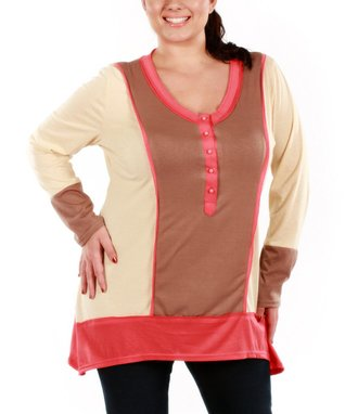 Jasmine Coral & Beige Color Block V-Neck Tunic - Plus