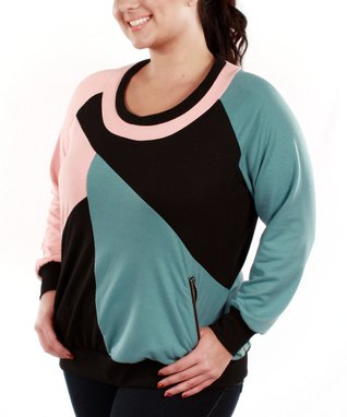 Jasmine Pink & Blue Color Block Scoop Neck Top - Plus