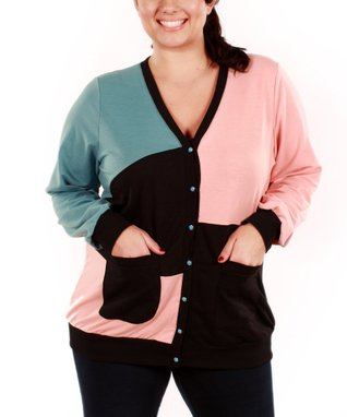 Jasmine Pink & Blue Color Block Cardigan - Plus