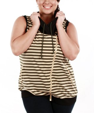 Jasmine Olive & Black Stripe Hooded Sleeveless Sweater - Plus