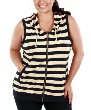 Jasmine Navy Stripe Zip-Up Short Sleeve Hoodie - Plus