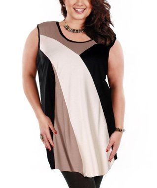 Jasmine Black & Beige Swoop Sleeveless Tunic - Plus