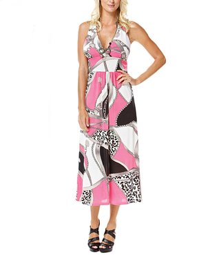 Pink & Black Status Halter Dress
