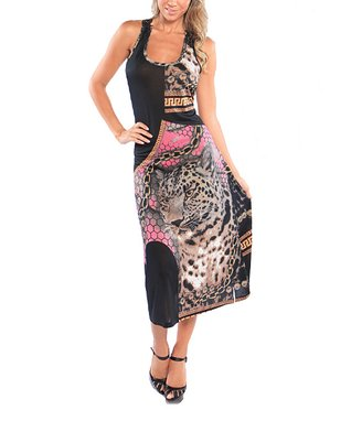 Black Status Leopard Halter Dress