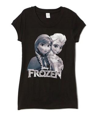Black Frozen Anna & Elsa Tee - Juniors