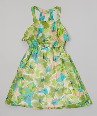 Apollo Lime Floral Ruffle Dress - Girls