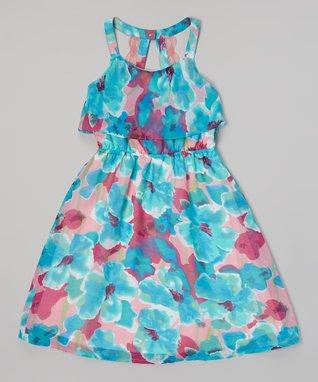 Apollo Purple Floral Ruffle Dress - Girls