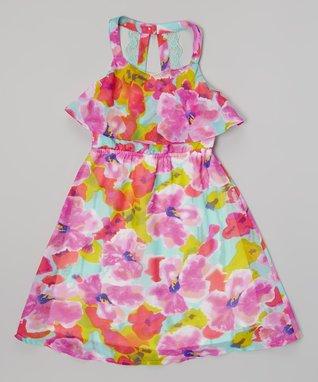 Apollo Fuchsia Floral Ruffle Dress - Girls
