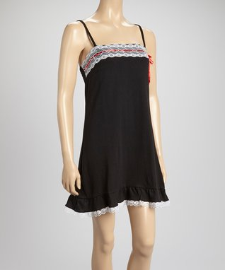 Bottoms Out Gal Black & White Lace-Trim Chemise Nightgown