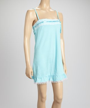 Bottoms Out Gal Light Turquoise & White Lace-Trim Chemise Nightgown