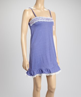 Bottoms Out Gal Light Purple & White Lace-Trim Chemise Nightgown
