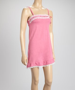 Bottoms Out Gal Rose & White Lace-Trim Chemise Nightgown