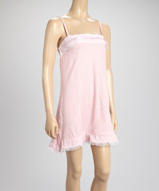 Bottoms Out Gal Light Pink & White Lace-Trim Chemise Nightgown