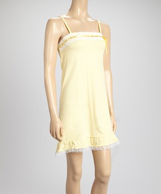Bottoms Out Gal Lemon & White Lace-Trim Chemise Nightgown