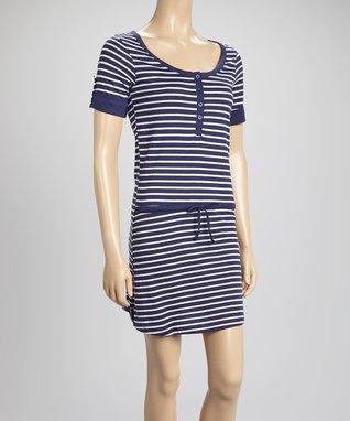 Bottoms Out Gal Navy Blue & White Stripe Short-Sleeve Nightie