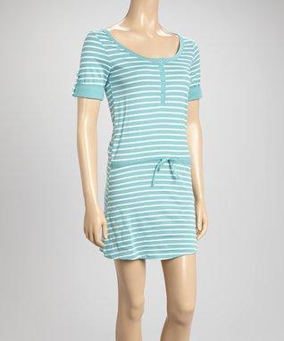Bottoms Out Gal Aqua & White Stripe Short-Sleeve Nightie