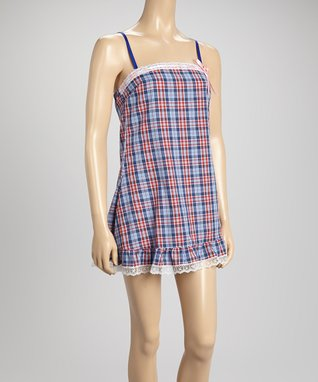 Bottoms Out Gal Blue & Red Plaid Americano Chemise Nightgown