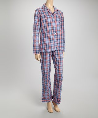 Bottoms Out Gal Blue & Red Plaid Americano Long-Sleeve Pajama Set