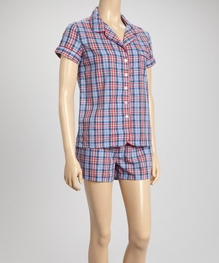Bottoms Out Gal Blue & Red Plaid Americano Short-Sleeve Pajama Set