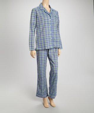 Bottoms Out Gal Green & Blue Plaid Pajama Set
