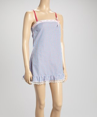 Bottoms Out Gal Green & Pink Plaid Chemise Nightgown