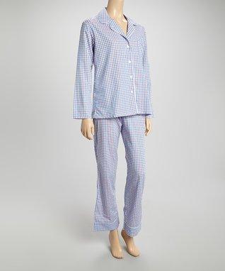 Bottoms Out Gal Blue & White Gingham Pajama Set