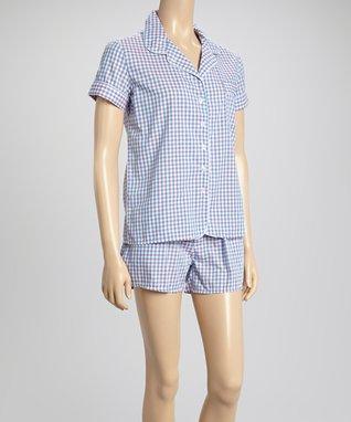 Bottoms Out Gal Light Blue Gingham Pajama Set