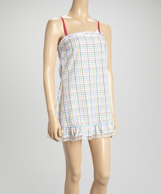 Bottoms Out Gal Lilac & Green Plaid Lace-Trim Chemise Nightgown
